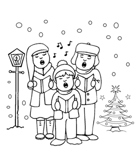 Carolers Colouring Page
