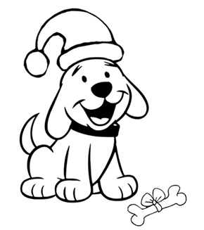 Christmas Puppy Colouring Page