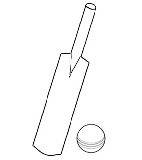Cricket Bat & Ball Colouring Page