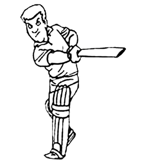Cricket Batter Colouring Page
