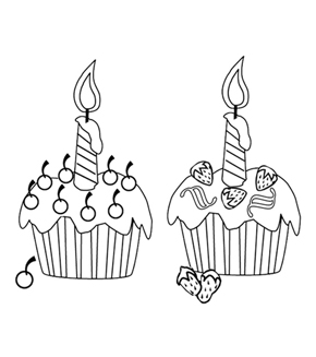 Birthday Cupcakes Colouring Page
