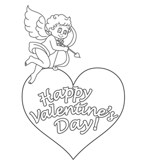 Cupid & Heart Colouring Page