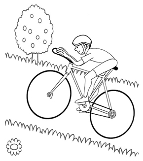 Cycling Colouring Page