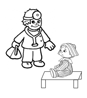 Doctor and Child Colouring Page