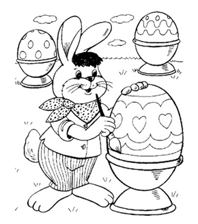 Easter Bunny Painting Colouring Page