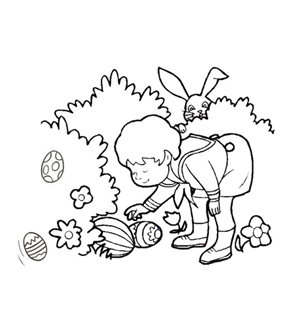 Easter Egg Hunt Colouring Page