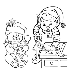 Elf & Teddy Colouring Page