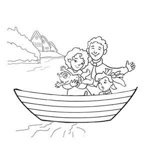 Family in a Boat Colouring Page