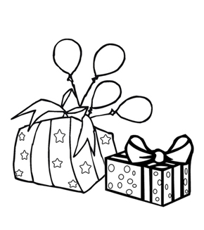 Birthday Gift Colouring Page