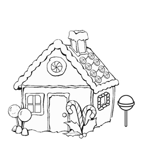 Gingerbread House Colouring Page