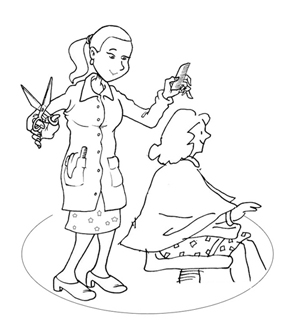 Hairdresser Colouring Page