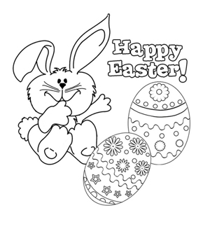 Happy Easter 2 Colouring Page
