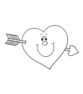 Heart Crossbow Colouring Page