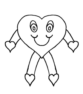 Heart Stick Figure Colouring Page