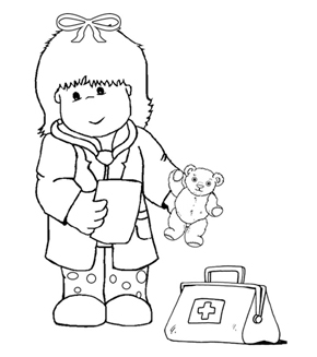Kid Doctor Colouring Page