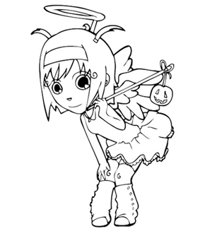 Little Angel Colouring Page