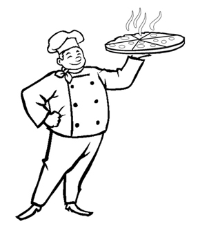 Pizza Baker Colouring Page