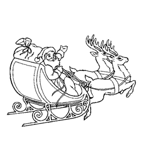Santa on Sleigh Colouring Page
