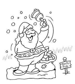 Santa Waving Colouring Page