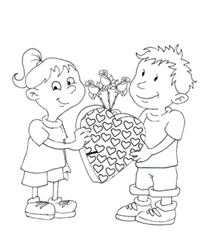 Sending a Valentine Colouring Page
