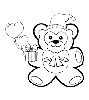 Teddy Colouring Page