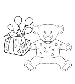 Teddy with Present Colouring Page
