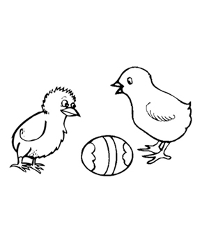 The Chick and The Egg Colouring Page