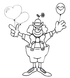Valentine Clown Colouring Page