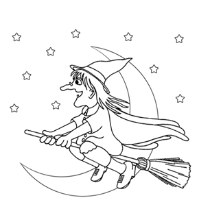 Witch Colouring Page