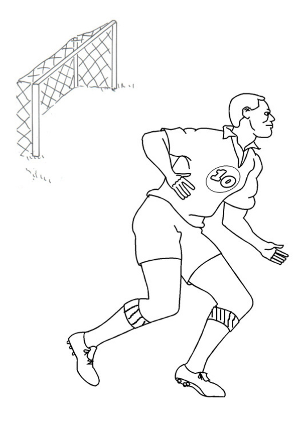 Free Online Soccer Player Colouring Page Kids Activity