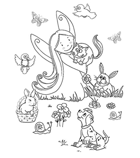 The Animal Fairy Colouring Page
