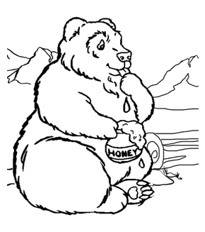 Bear And His Honey Colouring Page