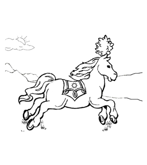 Carousel Horse Colouring Page