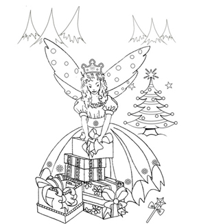 The Christmas Fairy Colouring Page