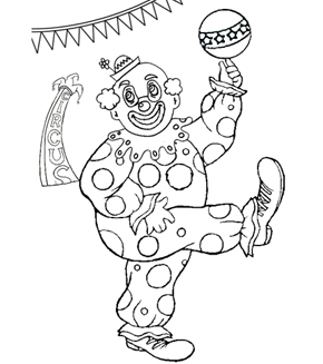 Clowning Around Colouring Page