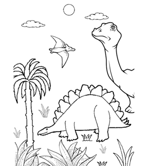 Dinosaur Jungle Colouring Page