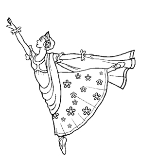Elegant Ballerina Colouring Page
