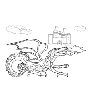 Fiery Dragon Colouring Page