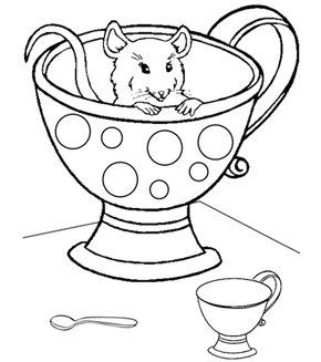 Hiding Mouse Colouring Page