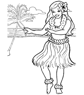 Hula Girl Colouring Page