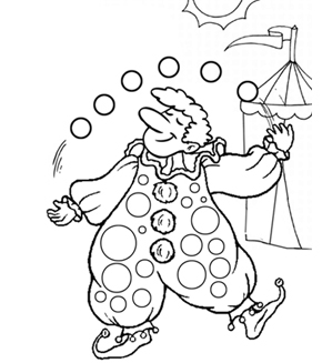 Juggling Clown Colouring Page