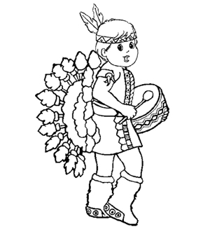 Little Red Indian Colouring Page