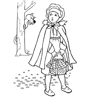 Little Red Riding Hood Colouring Page