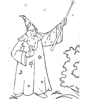 Merlin The Wizard Colouring Page