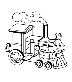 Mini Tank Engine Colouring Page