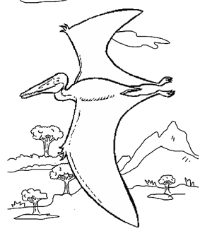 Pterosaurs Colouring Page