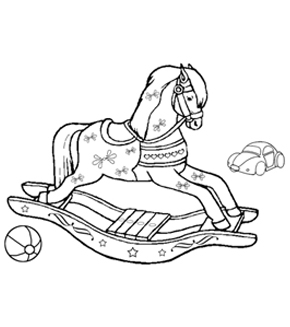 Rocking Horse Colouring Page