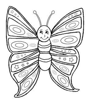 Smiling Butterfly Colouring Page