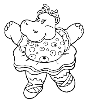 The Happy Hippo Colouring Page