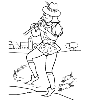 The Pied Piper Colouring Page
